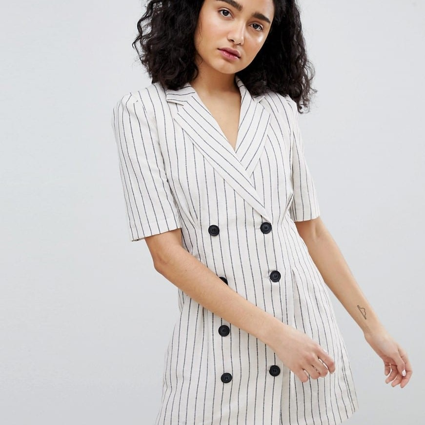 lowest price new arrival best supplier BERSHKA Stripe Blazer Cream Dress - We Select Dresses