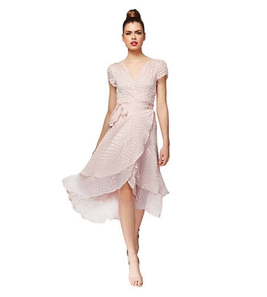 Betsy Johnson High Low Dotted Wrap Blush Pink Dress