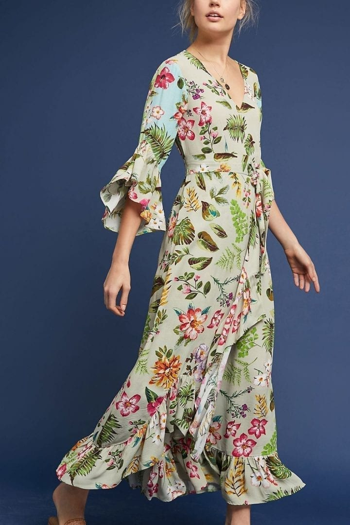 BL-NK Ruth Floral Maxi Green Motif Dress