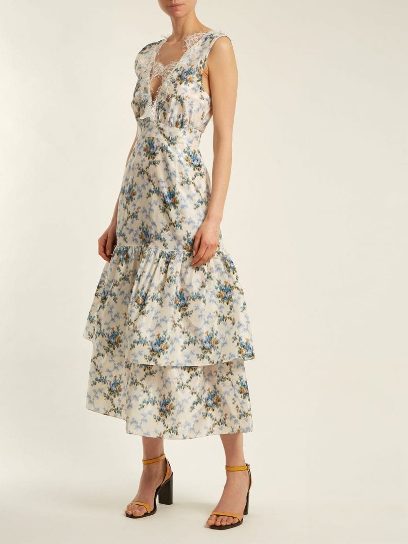 BROCK COLLECTION Lace Detail White / Floral Printed Dress
