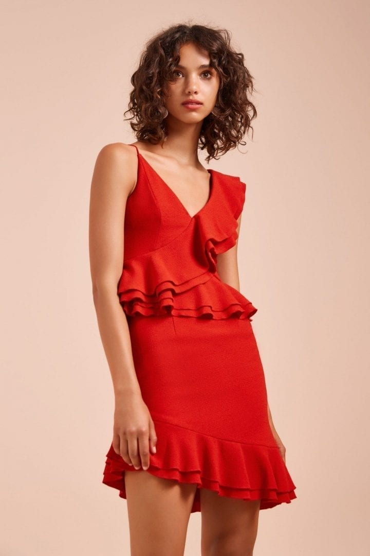 C/MEO COLLECTIVE ENTICE Short Sleeve Red Dress