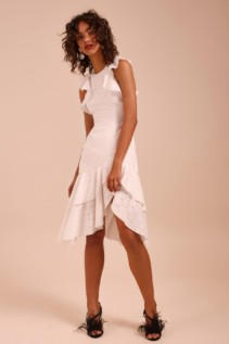 C/MEO COLLECTIVE Magnetise Short Sleeve Ivory Dress