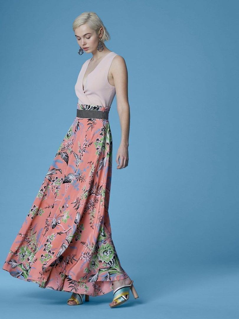 e5394f238e DIANE VON FURSTENBERG High-waisted Draped Maxi Floral Printed Skirt ...