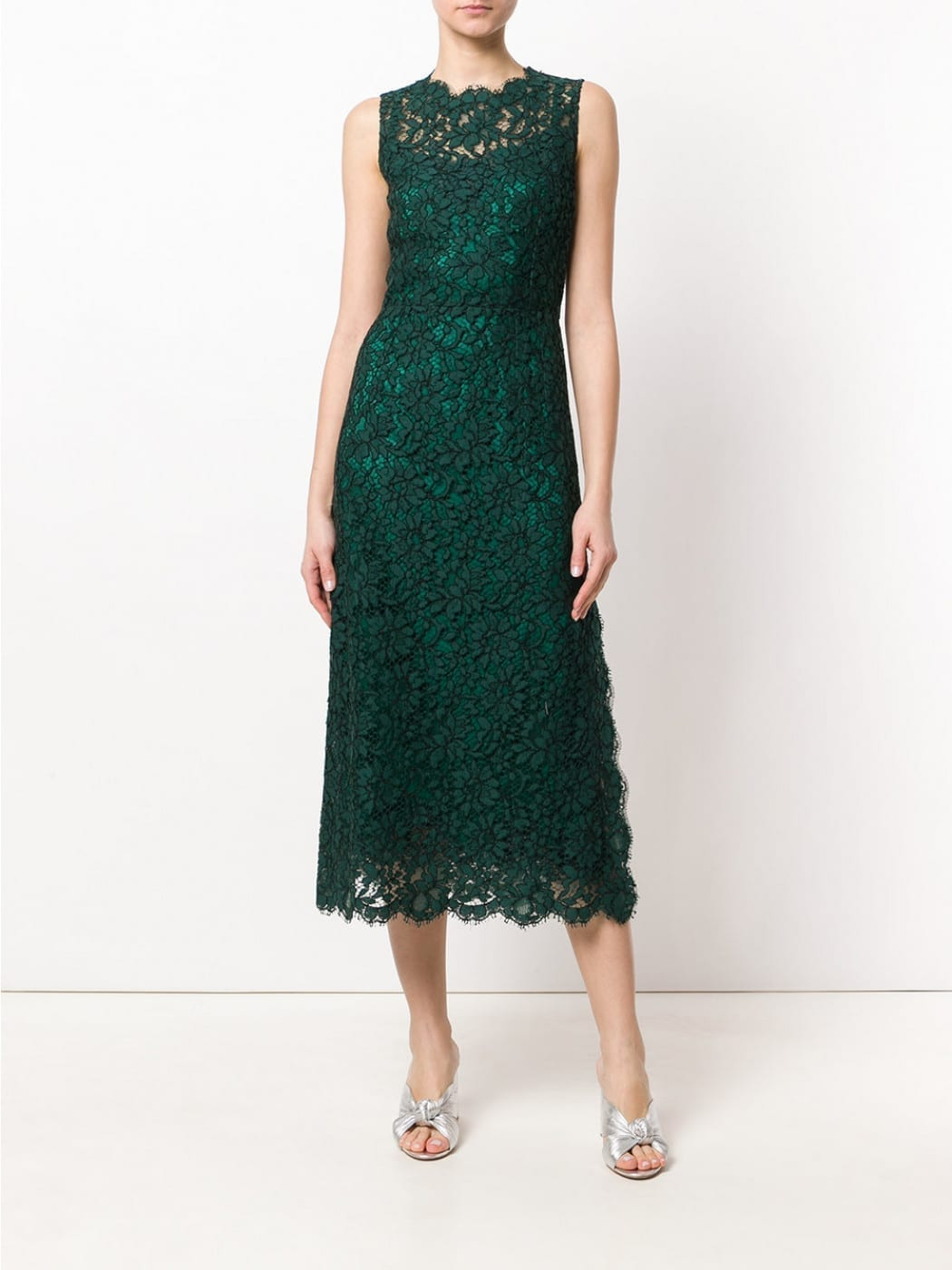 DOLCE & GABBANA Blend Cotton Lace Green Dress