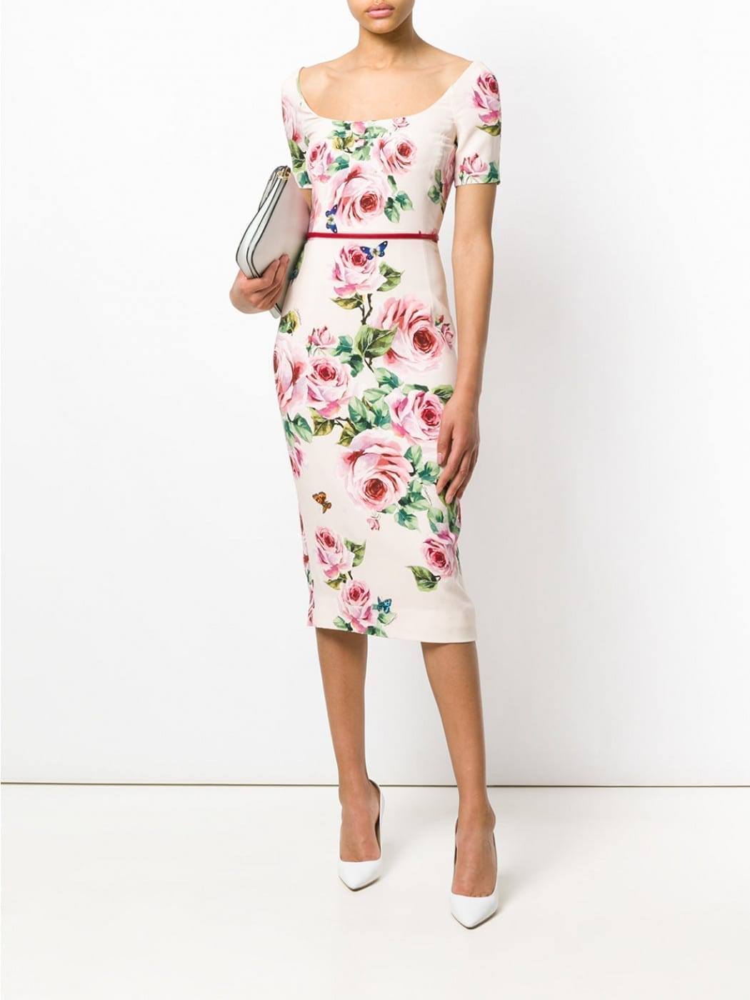 DOLCE & GABBANA Flower Print Light Pink Dress