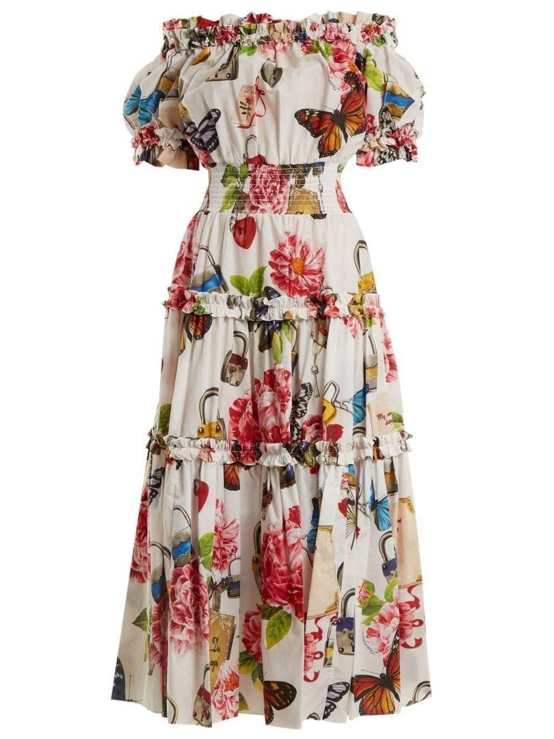 53cc7c796636 DOLCE   GABBANA Padlock And Garden Print Off-shoulder White Dress ...