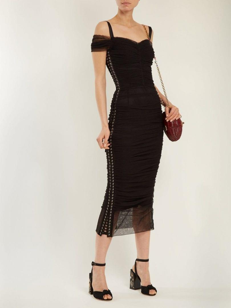 DOLCE & GABBANA Ruched Off Shoulder Midi Black Dress