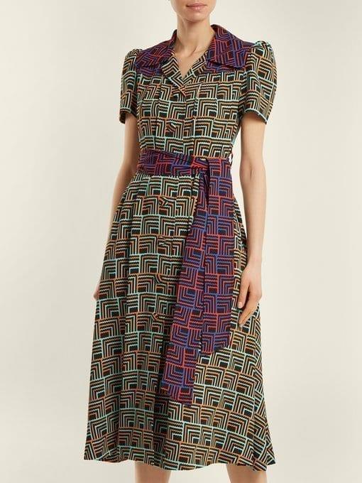 DURO OLOWU Geometric-print Notch-lapel Black Dress