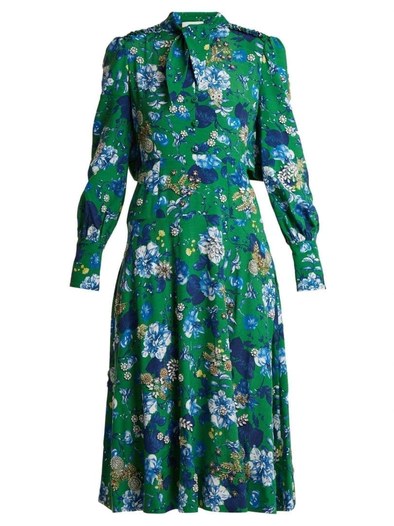 Ermanno Scervino Silk Georgette Multi Floral Printed Green Dress We Select Dresses