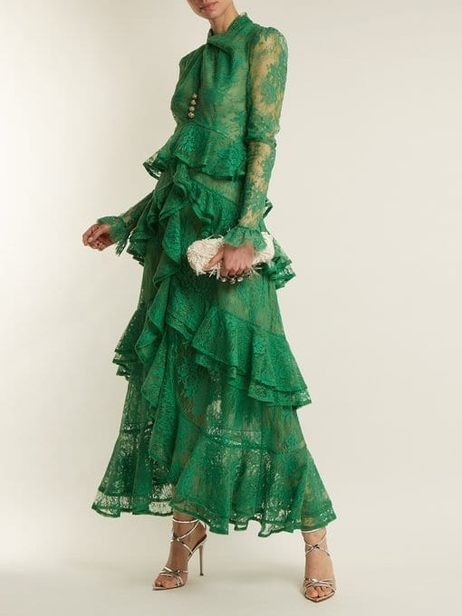 ERDEM Kimber Twist-front Ruffle-trimmed Lace Emerald Green Dress