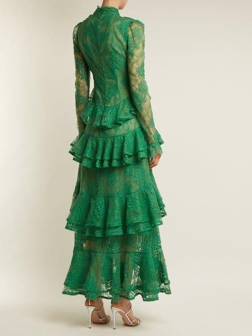 Erdem Kimber Twist Front Ruffle Trimmed Lace Emerald Green