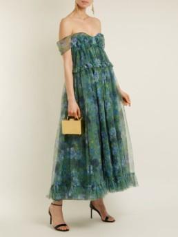 ERDEM Pia Elizabeth Garden-print Tulle Emerald Green Dress