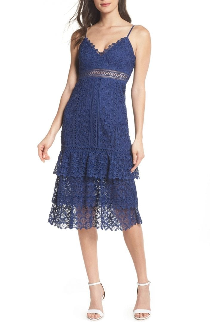 EVER NEW Katie Tiered Lace Blue Dress