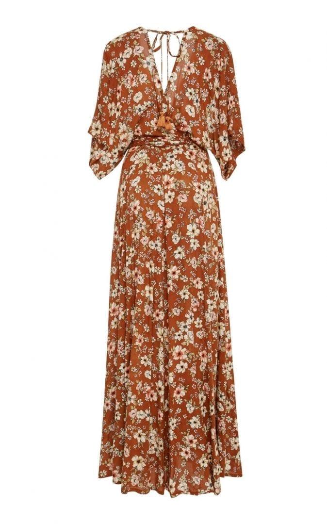 FAITHFULL Bergamo Maxi Wrap Brown Dress