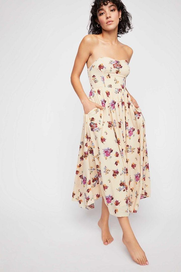 FREEPEOPLE Bella Babe Printed Midi Sweet Cream Combo Dress