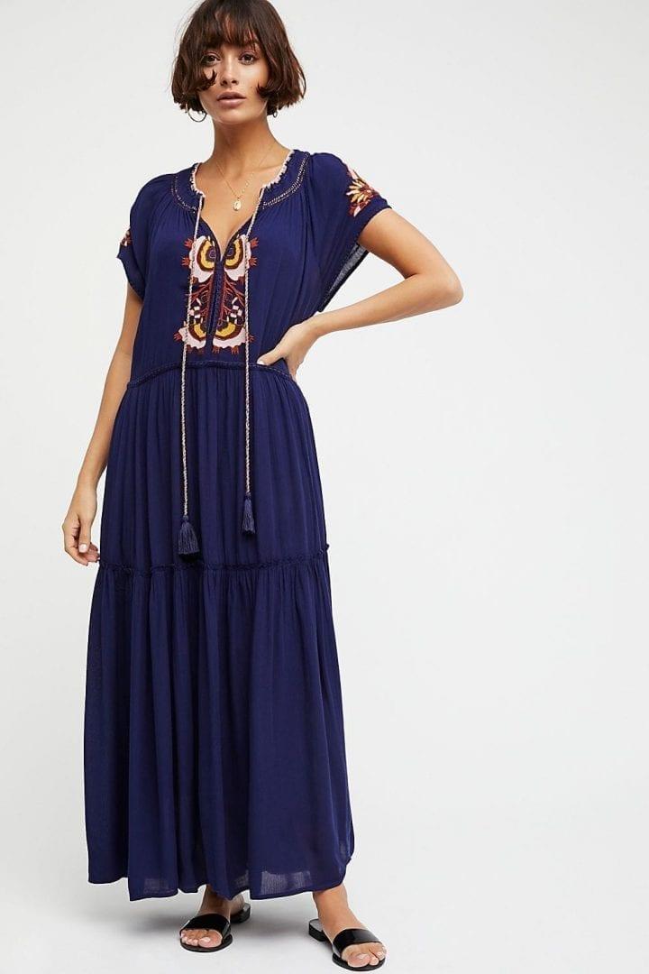 FREEPEOPLE Daisy Fields Maxi Navy Combo Dress