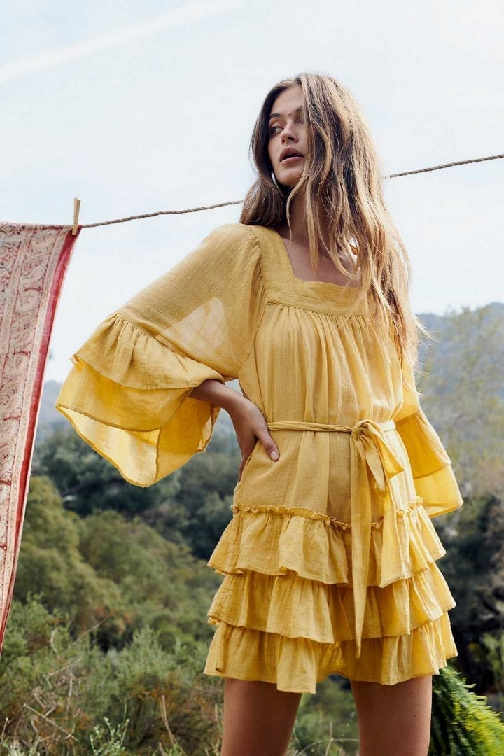 FREEPEOPLE Gretta Mini Sand Earth Dress