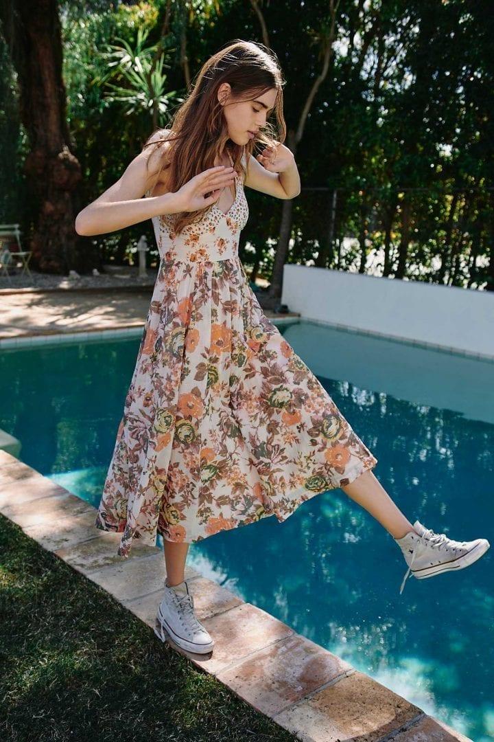 FREEPEOPLE Love You Midi Neutral Combo Dress