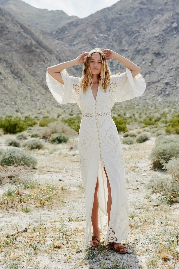 Beautiful Boho Vacation Dresses FREEPEOPLE Summer Girl Maxi Cream Dress