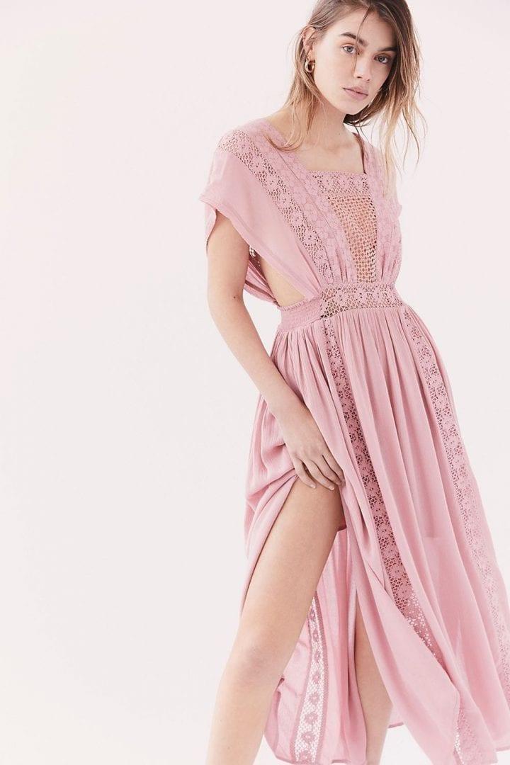 FREEPEOPLE Sway Away Pieced Maxi Princess Pink Dress