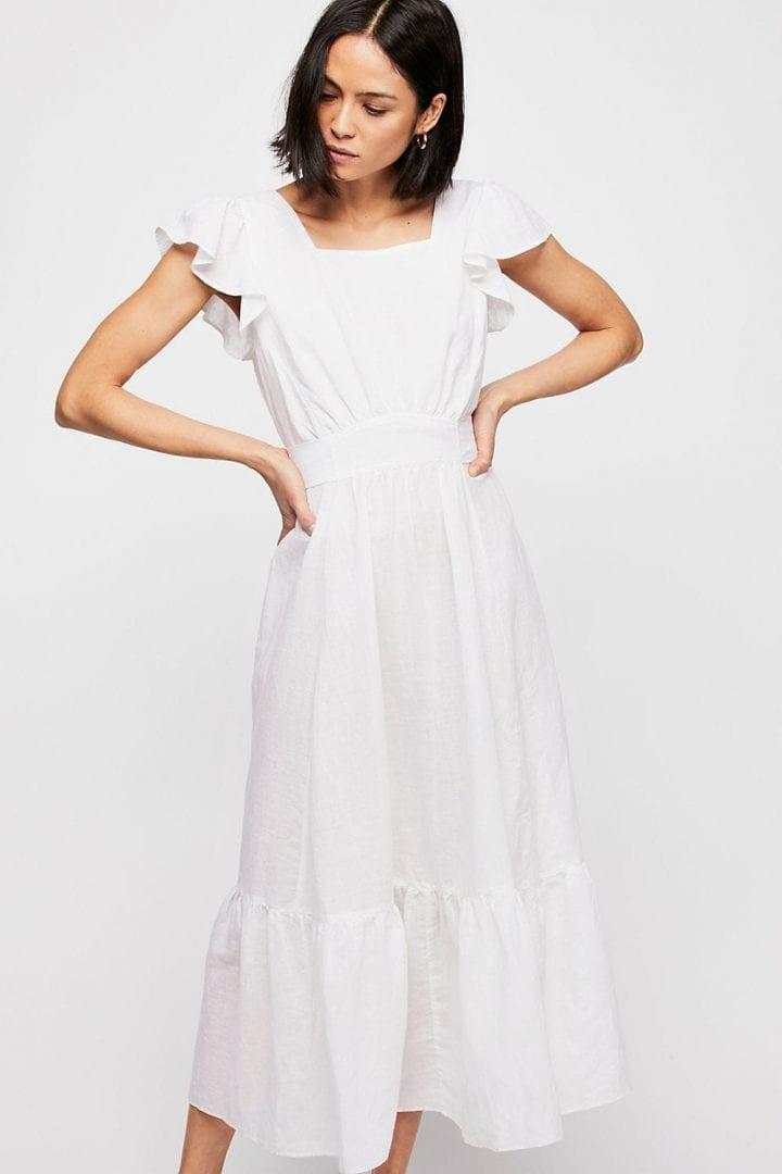 FREEPEOPLE Takin\' A Chance Midi White Dress - We Select Dresses