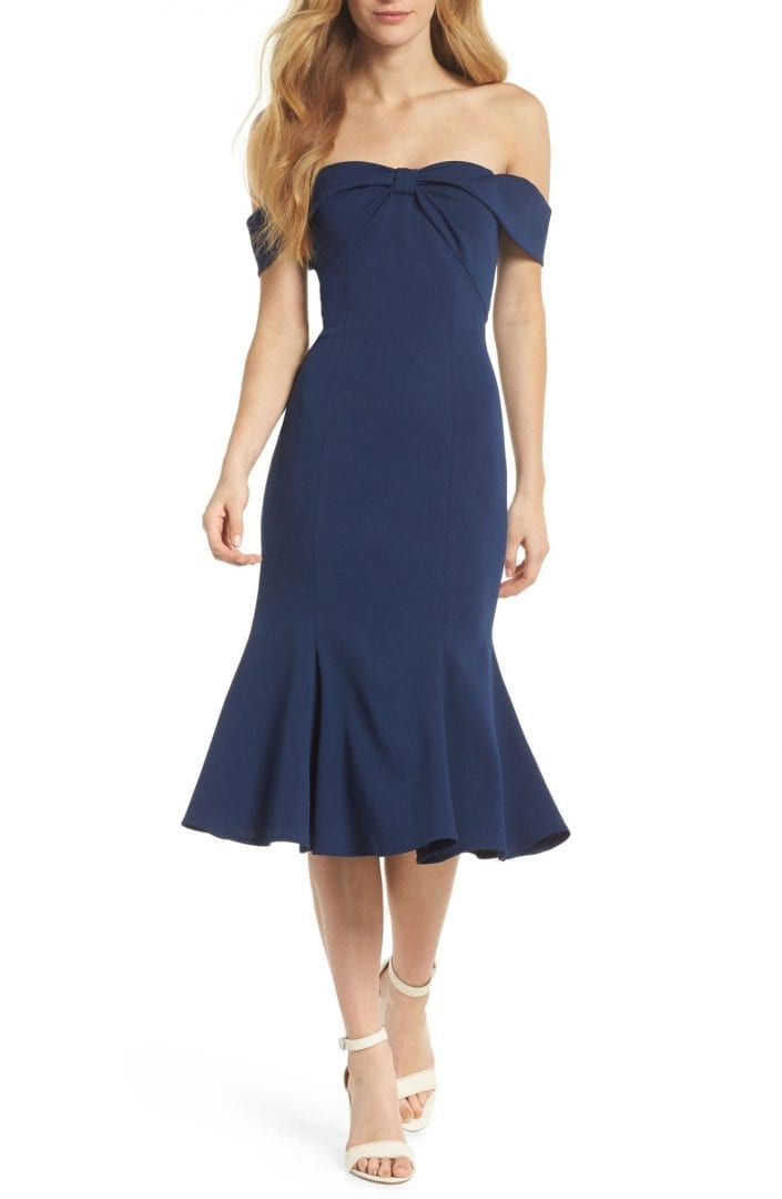 GAL MEETS GLAM COLLECTION Tyler Off the Shoulder Scuba Crepe Navy Dress