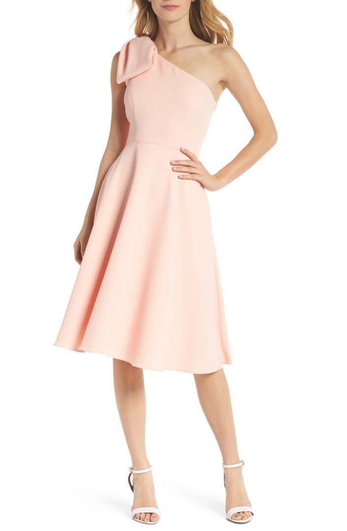 89d856db2c5 GAL MEETS GLAM COLLECTION Yvonne Dream Crepe One-Shoulder Rose Quartz Dress