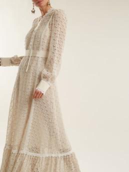 GUCCI Logo Macramé Lace Trimmed Cotton Blend Ivory Gown