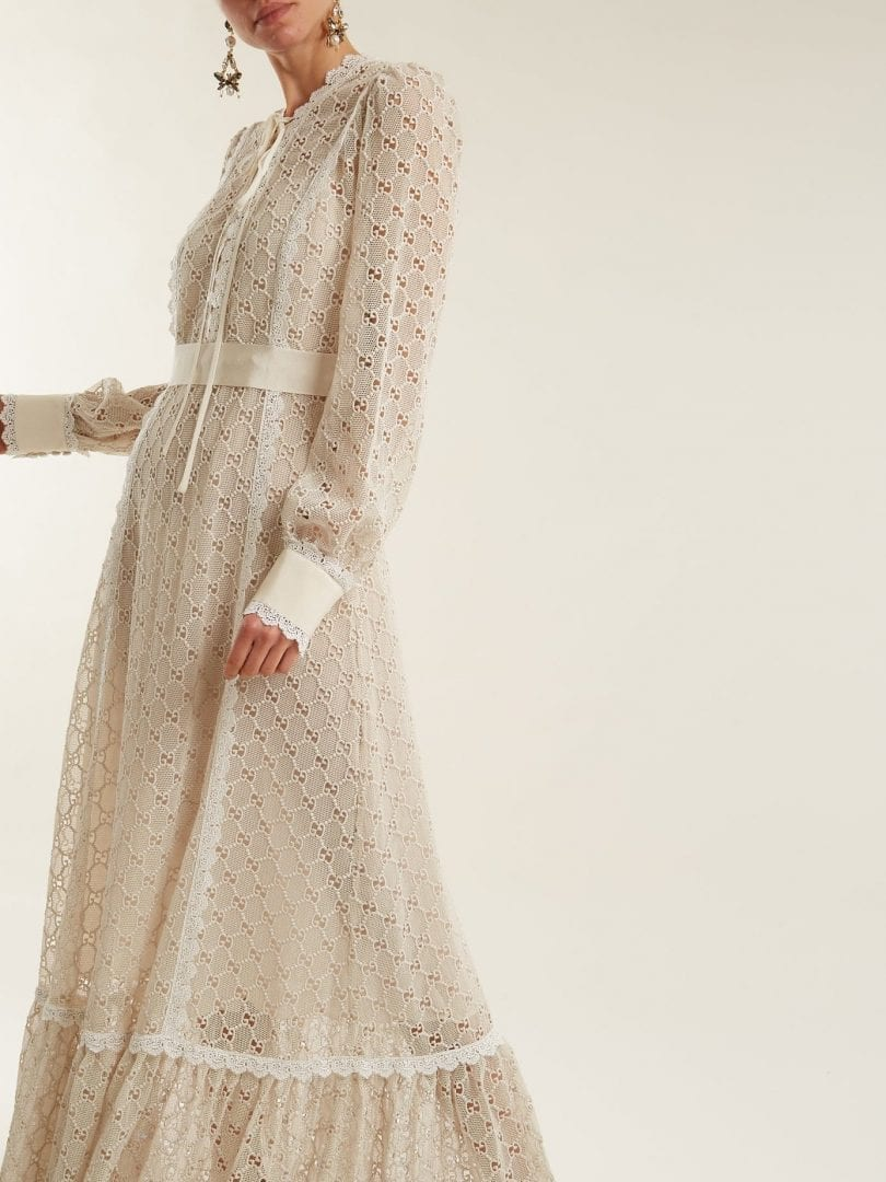 GUCCI Logo Macramé Lace Trimmed Cotton Blend Ivory Gown
