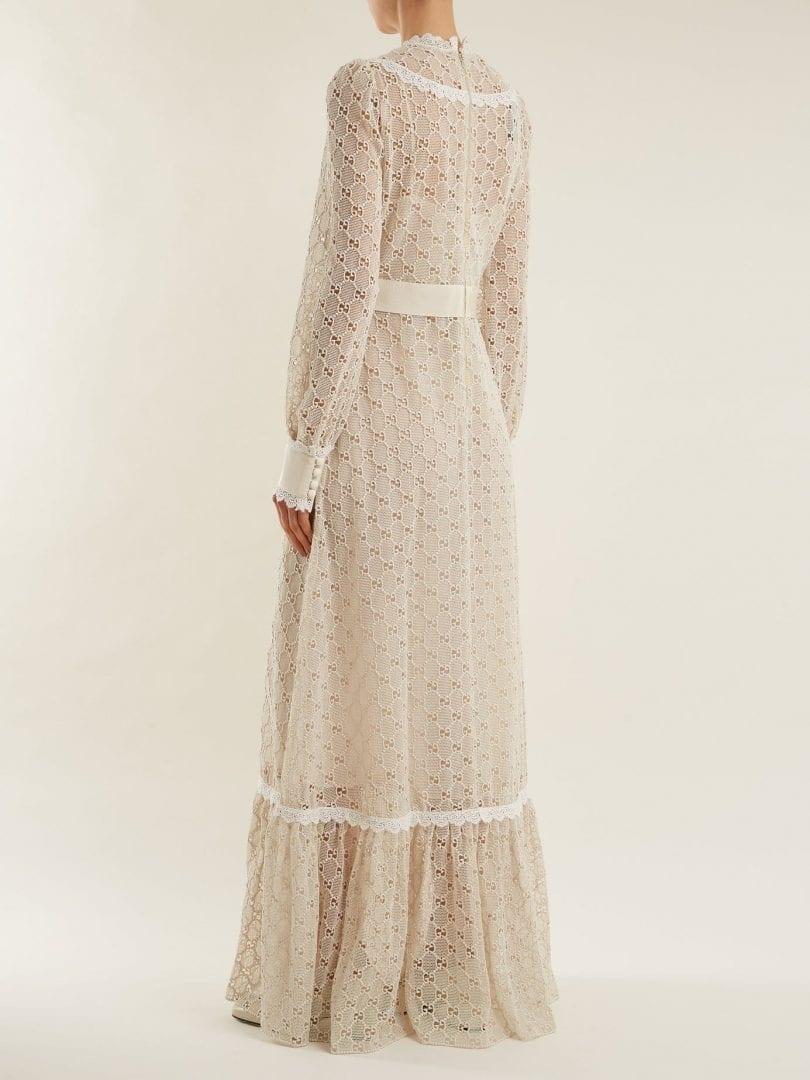 Gucci Logo Macram 233 Lace Trimmed Cotton Blend Cream Gown