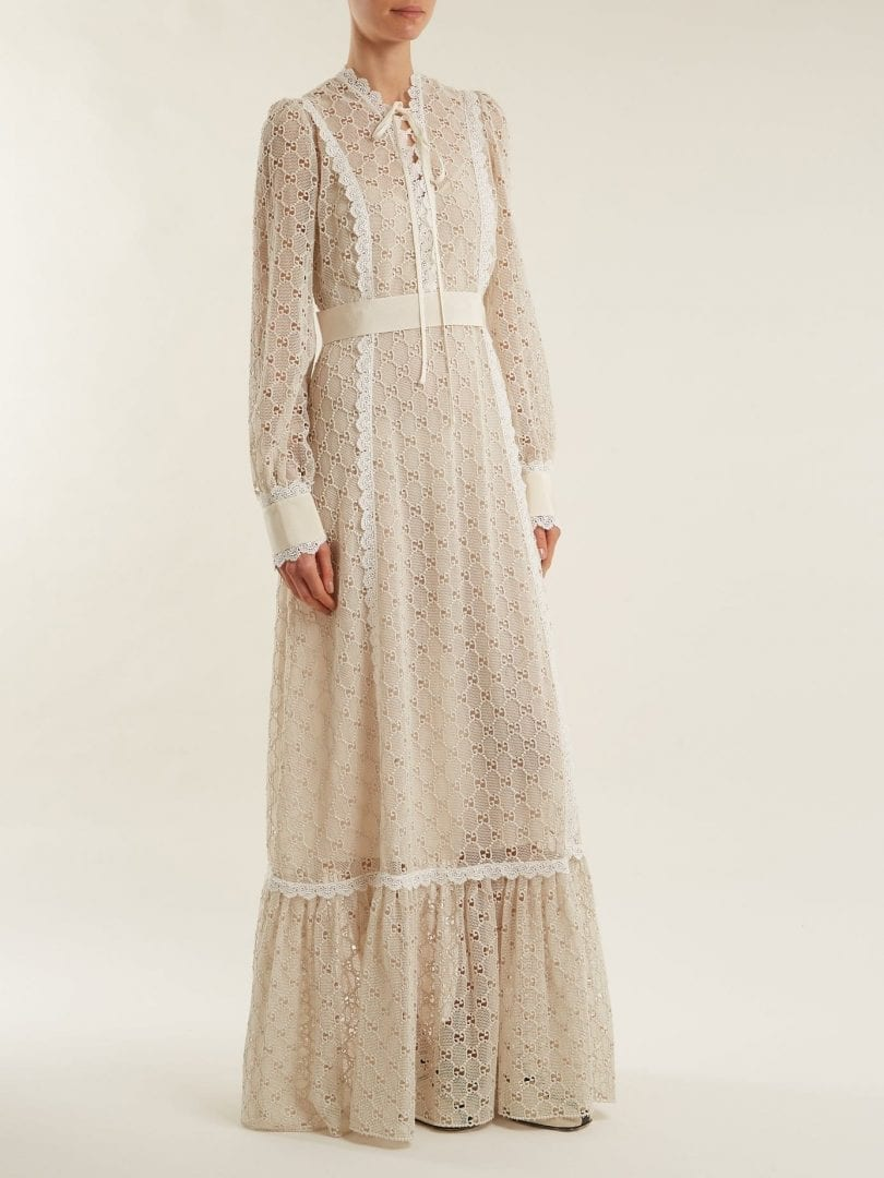 GUCCI Logo Macramé Lace Trimmed Cotton Blend Cream Gown - We Select ...