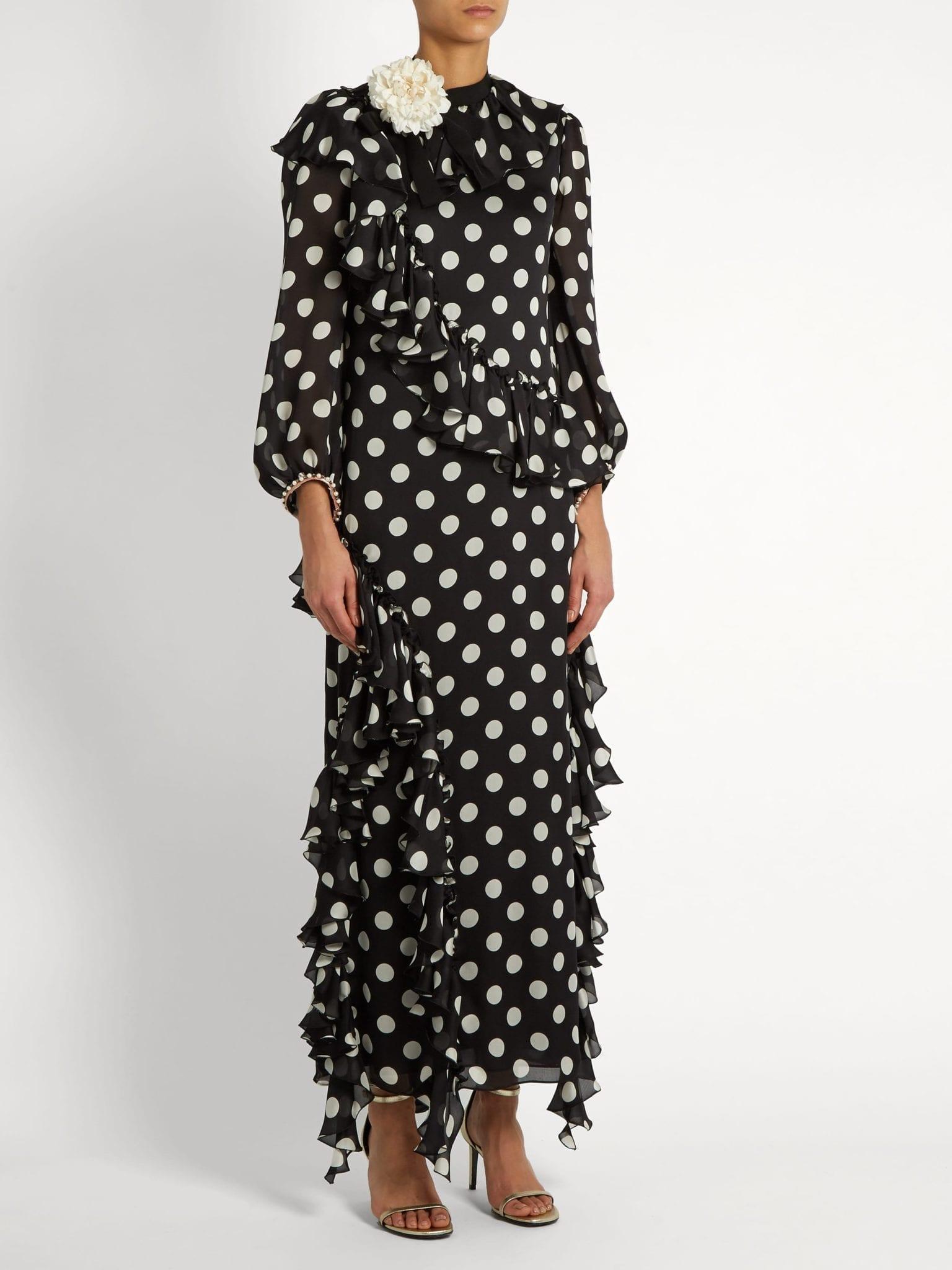 GUCCI Ruffled Polka Dot Georgette Black Gown - We Select Dresses