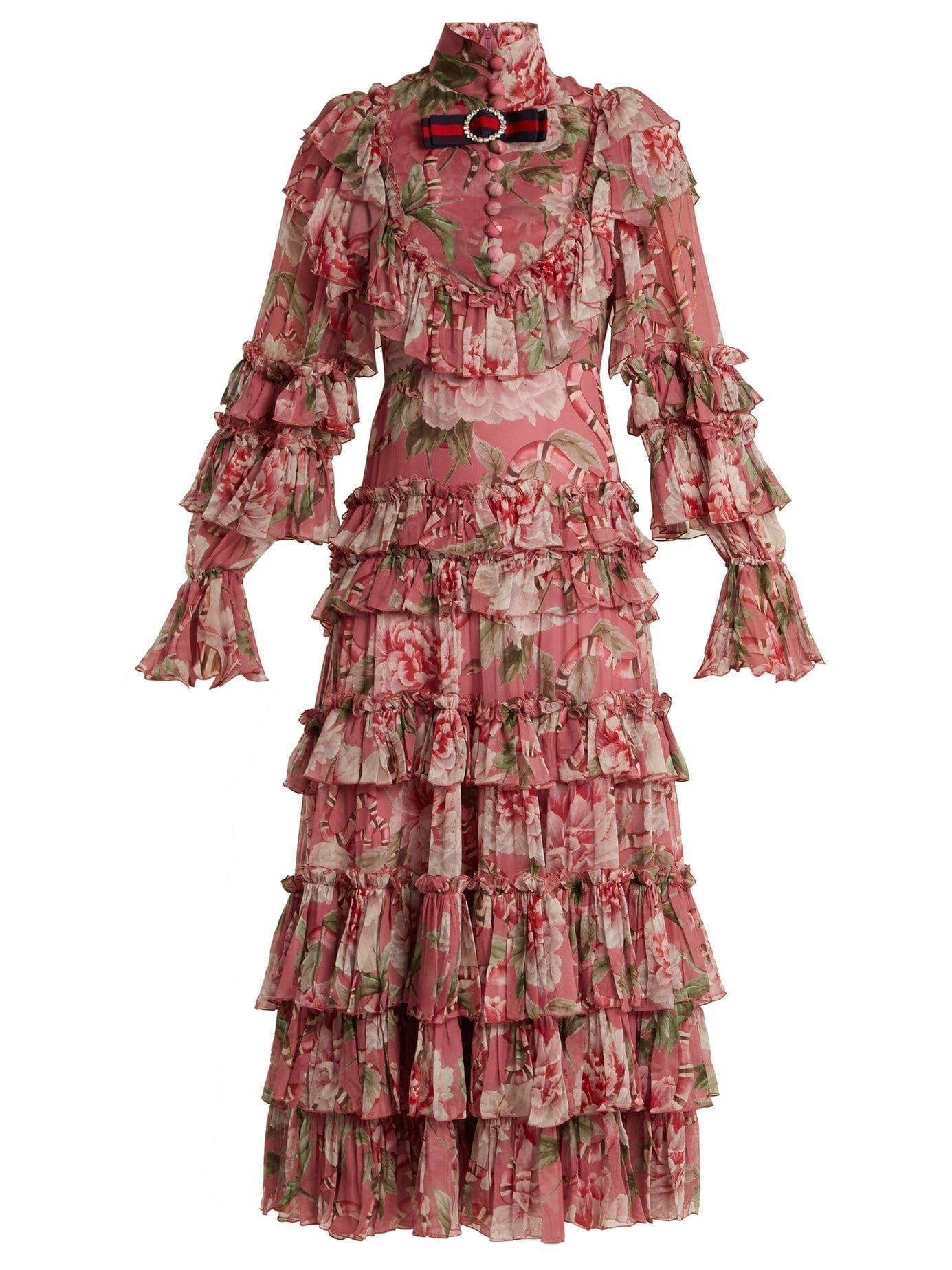 GUCCI Ruffled Silk Georgette Pink Gown