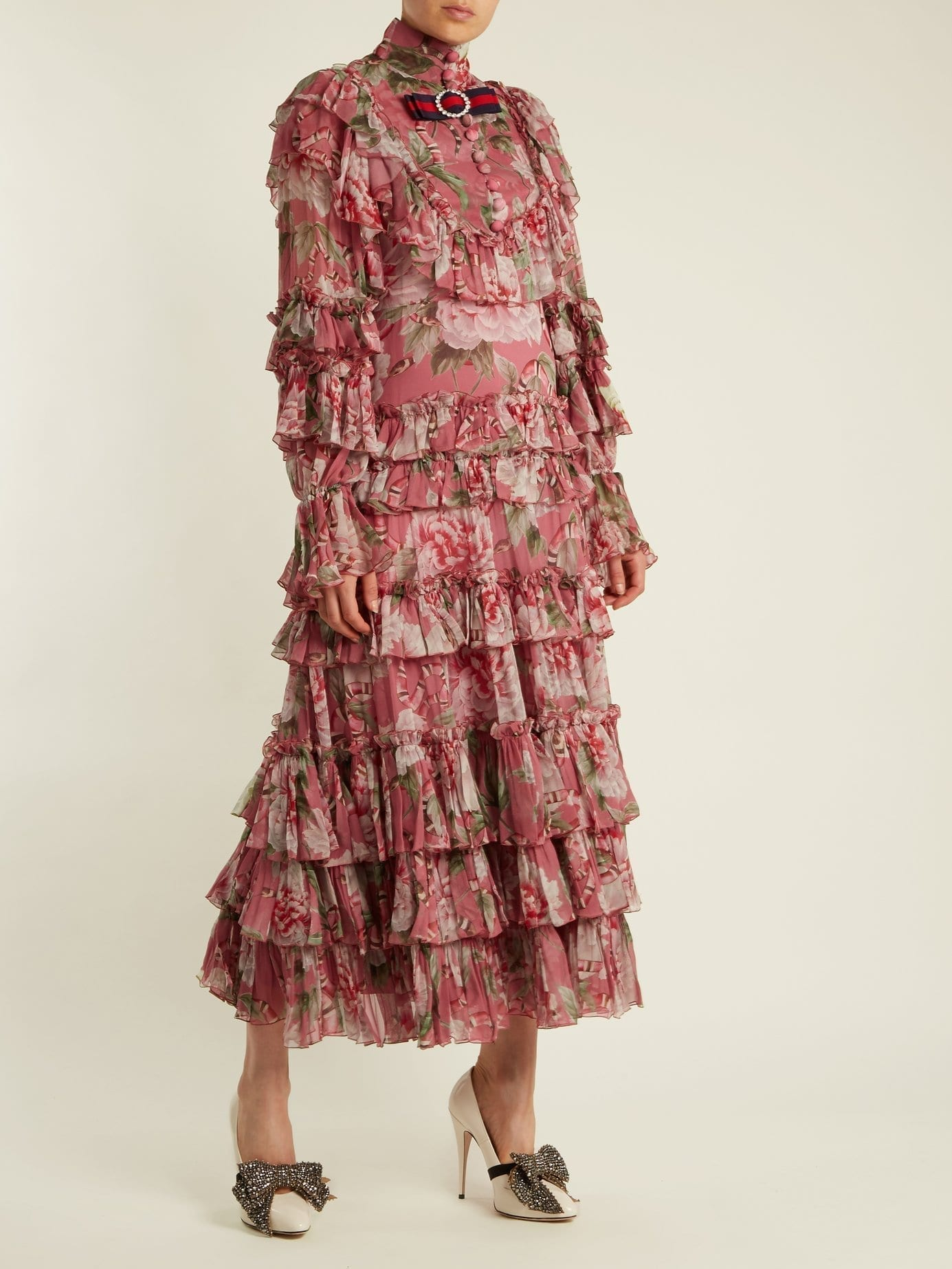 GUCCI Ruffled Silk Georgette Pink Gown - We Select Dresses