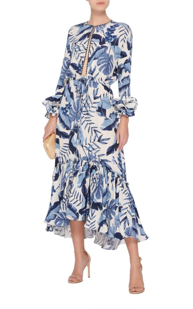 JOHANNA ORTIZ M'O Exclusive Royal Navy Crepe De Chine White / Printed Dress