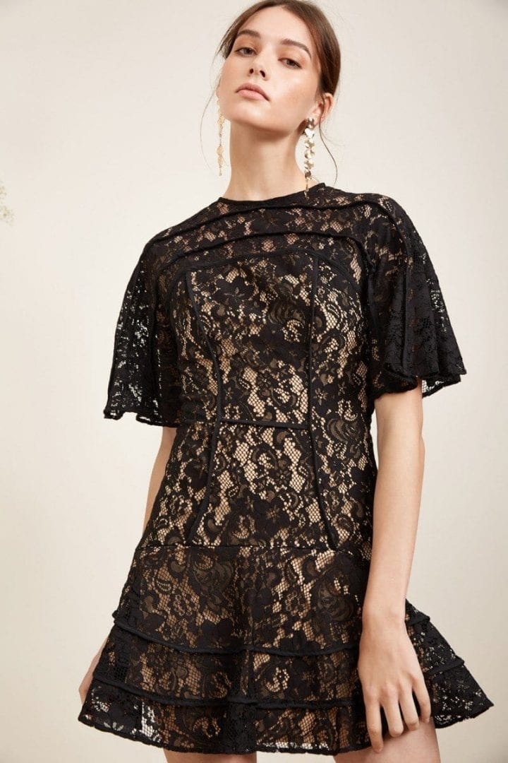 KEEPSAKE Dreamers Lace Mini Black Dress