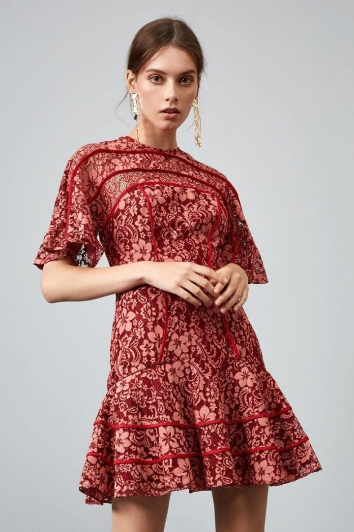 KEEPSAKE Dreamers Lace Mini Rosewood Dress