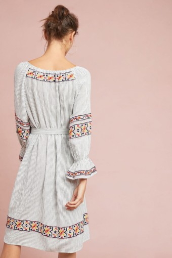 LAIA Germain Embroidered Tunic Blue Motif Dress