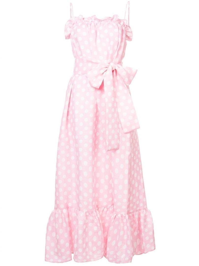 LISA MARIE FERNANDEZ Polka Dot Tie Waist Maxi Baby Pink Dress