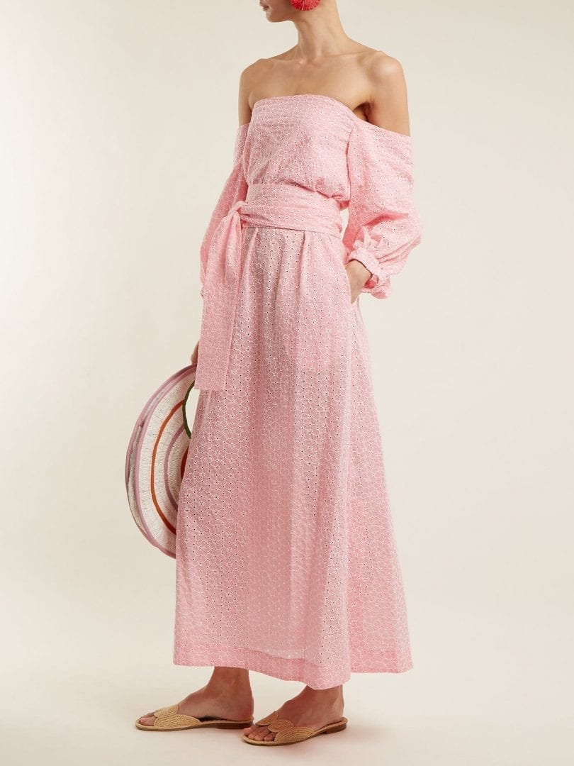 LISA MARIE FERNANDEZ Rosie Broderie Anglaise Cotton Baby Pink Dress ...