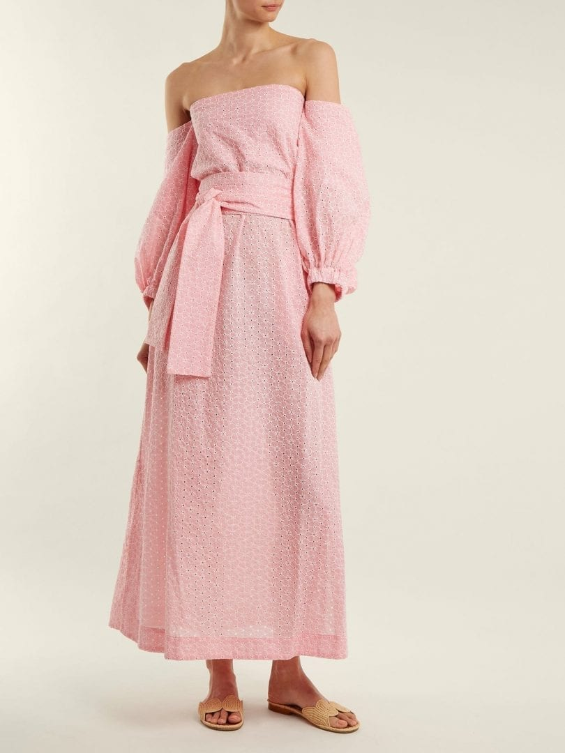 LISA MARIE FERNANDEZ Rosie Broderie Anglaise Cotton Baby Pink Dress