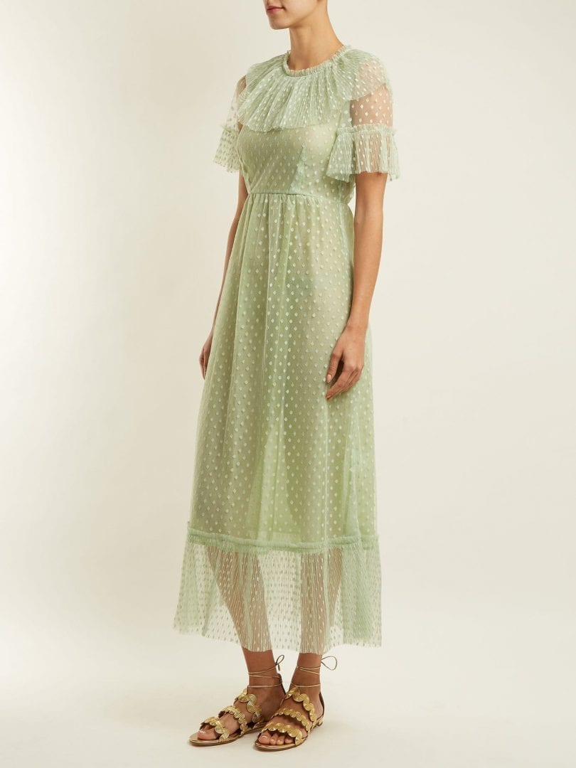 LUISA BECCARIA Polka Dot Tulle Pistachio Green Dress