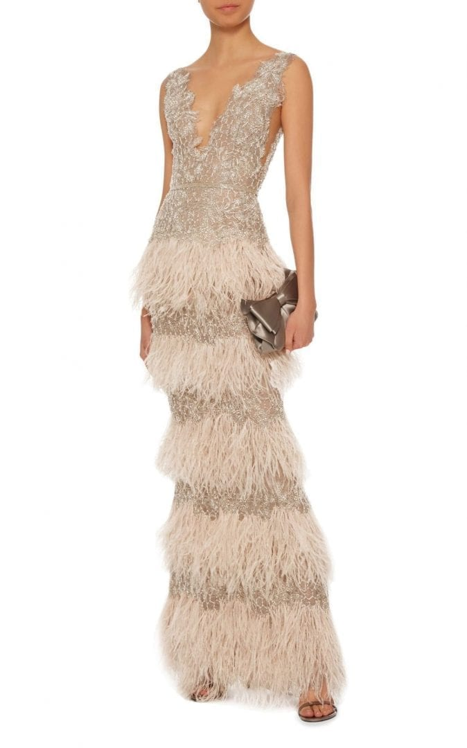 MARCHESA Beaded Tiered Feather Silver Gown - We Select Dresses