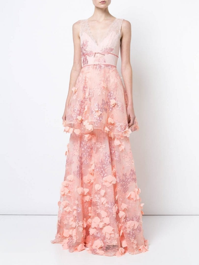 MARCHESA NOTTE 3d Embroidered Blush Pink Gown - We Select Dresses