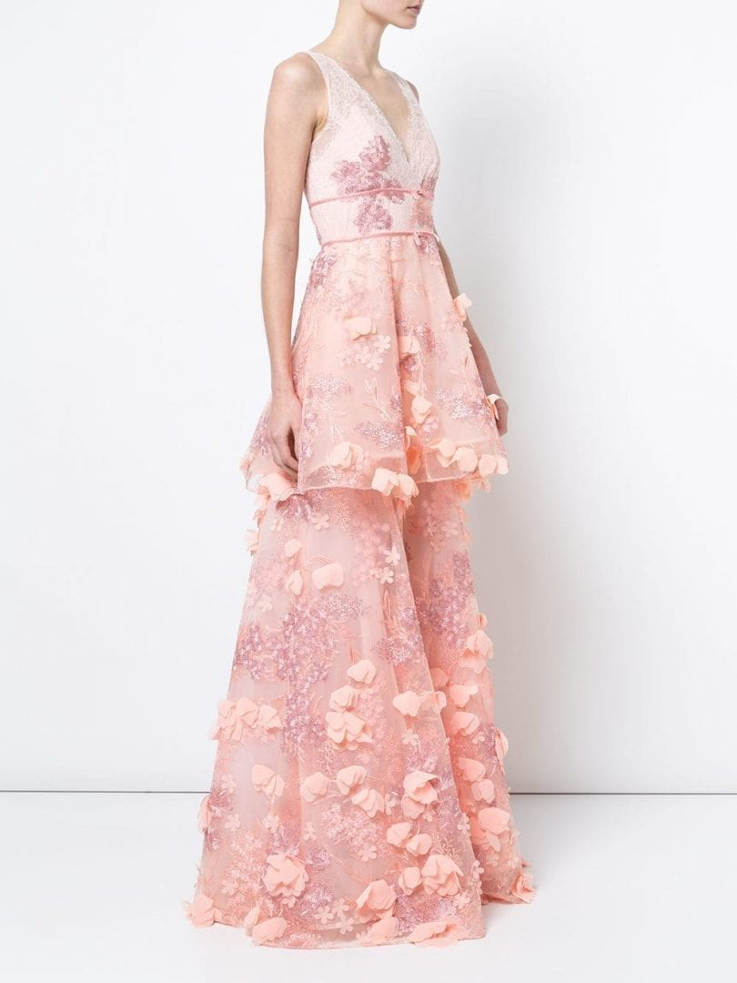 Marchesa Notte Embroidered Blush Gown