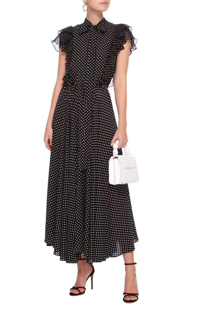 michael kors collection pussy bow polka dot silk georgette maxi black dress we select dresses. Black Bedroom Furniture Sets. Home Design Ideas