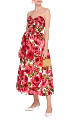 MICHAEL KORS COLLECTION Strapless Jacquard Midi Floral Printed Dress