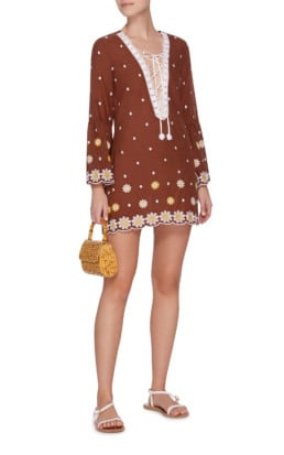 MIGUELINA Lace-Up Embroidered Cotton MIni Brown Dress