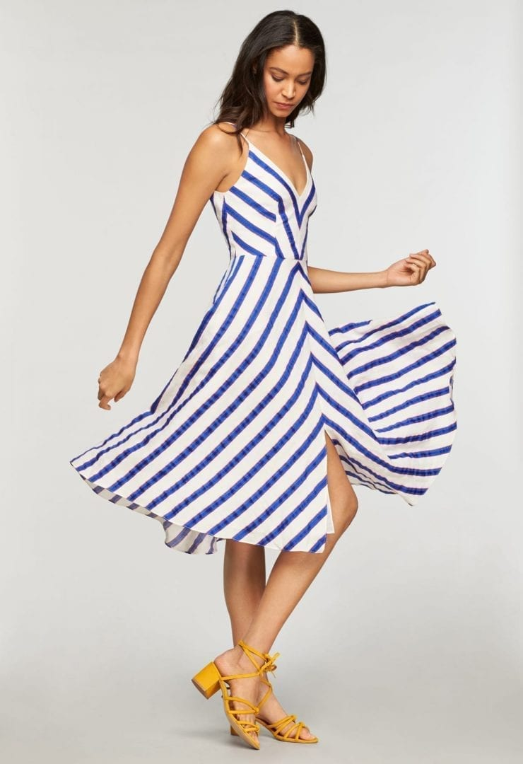 MILLY Washed Linen Stripe Midi Length Monroe Cobalt Dress