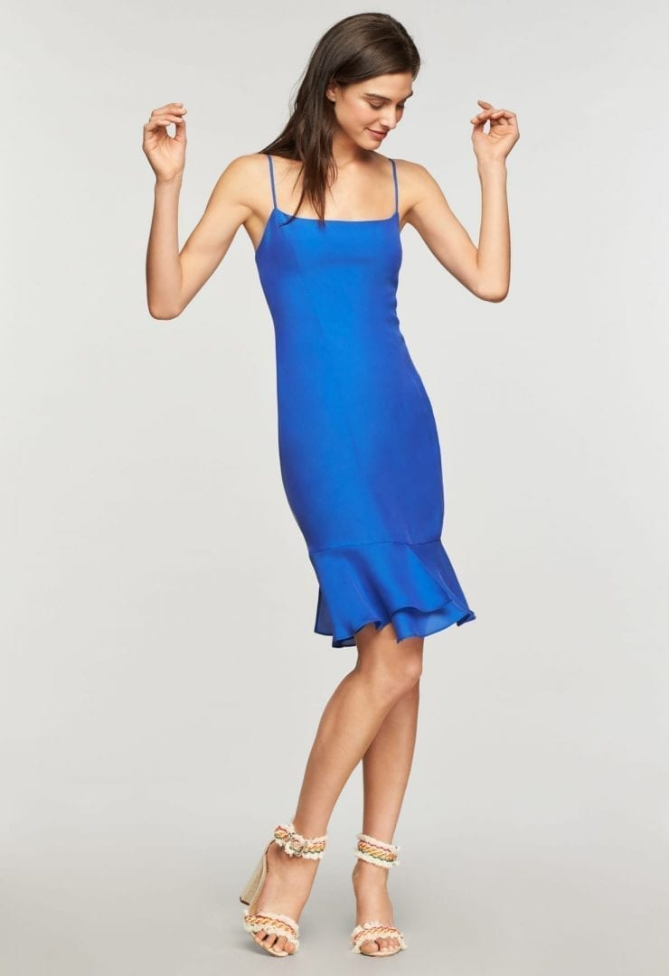 Milly Washed Silk Mandy Cobalt Dress